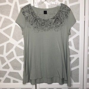 Peruvian Connection Sage Green Printed Tee Size M